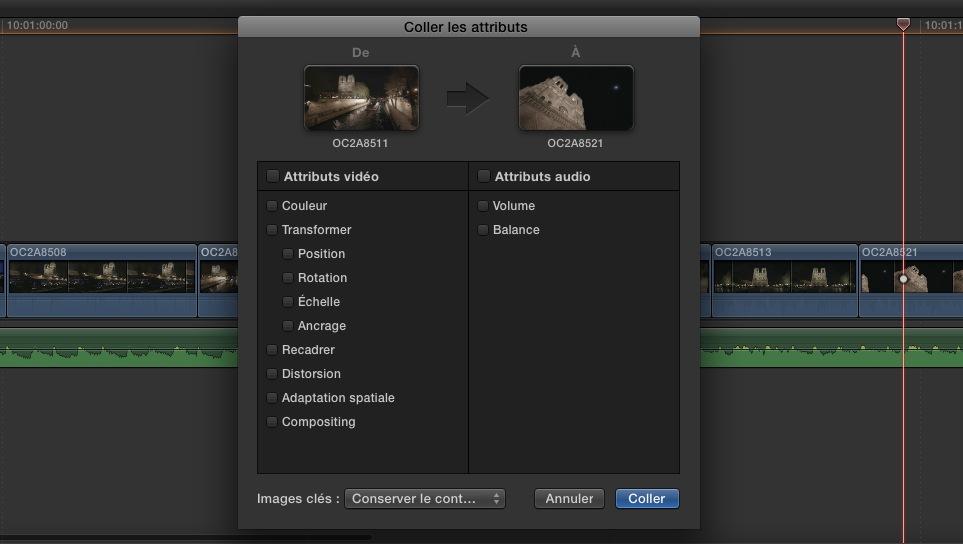 """Fonction """"Coller les attributs"""" de FCPX 10.1.1"""