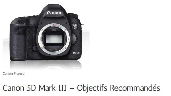 Canon 5D MarkIII : les objectifs recommandés