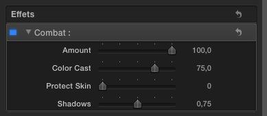"""Utilisation du filtre """"Combat"""" sous Final Cut Pro X."""