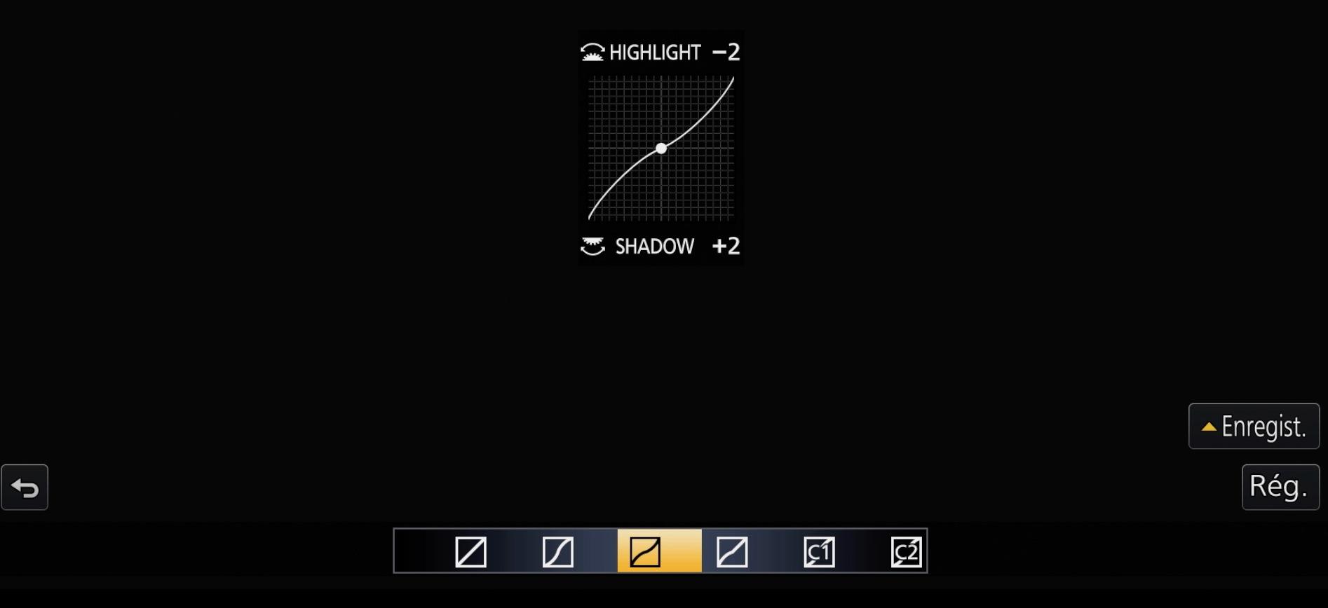 Réglages highlight et shadow du GH4 de Panasonic.