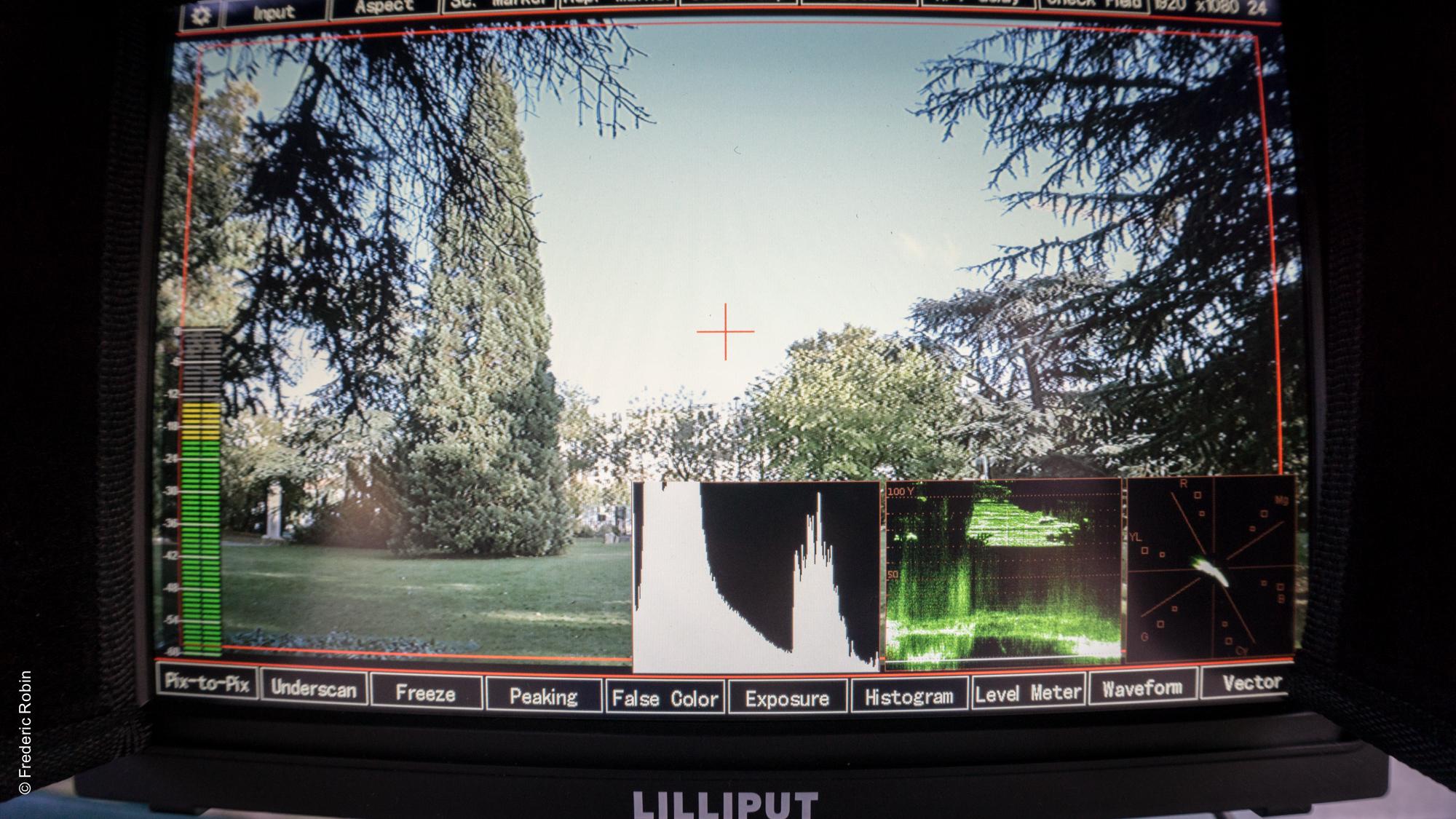 Affichage des scopes pour vérifier le signal issue d'une caméra.