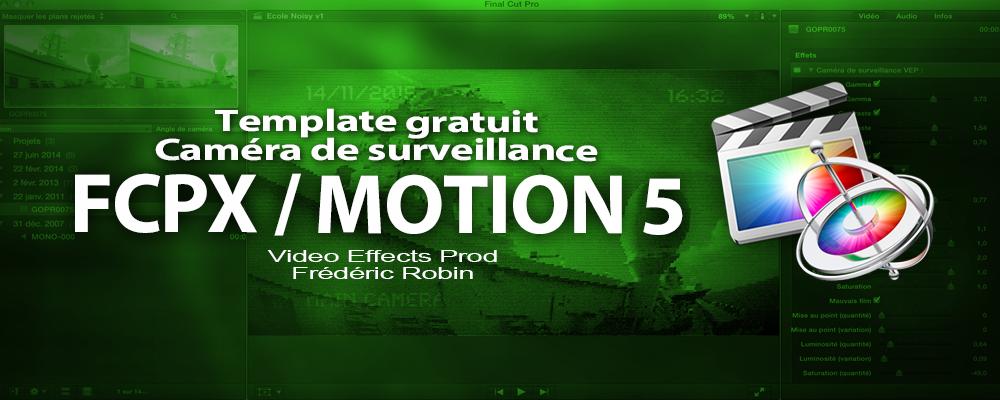Free template FCPX / Motion 5 : caméra de surveillance