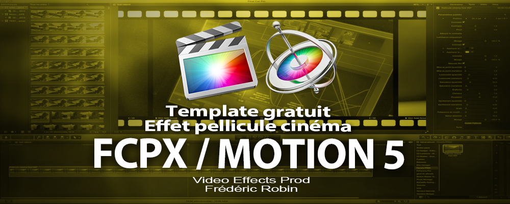 Free template FCPX / MOTION 5 : effet cinéma perforations pellicule.