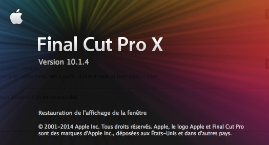 Mise à jour FCPX en version 10.1.4