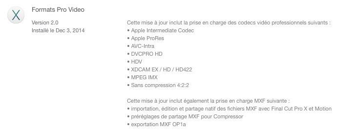 Nouveau codecs pour FCPX 10.1.4