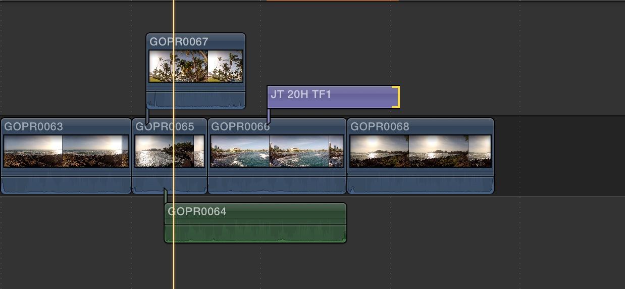 Timeline avec un paln qui possède 2 plans connectés