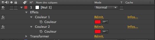 Renommez les 2 effets paramètre couleurs du calque d'objet Nul.