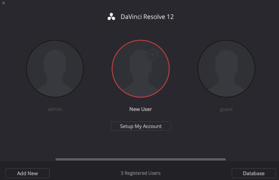 Créer un nouveau utilisateur sous DaVinci Resolve 12