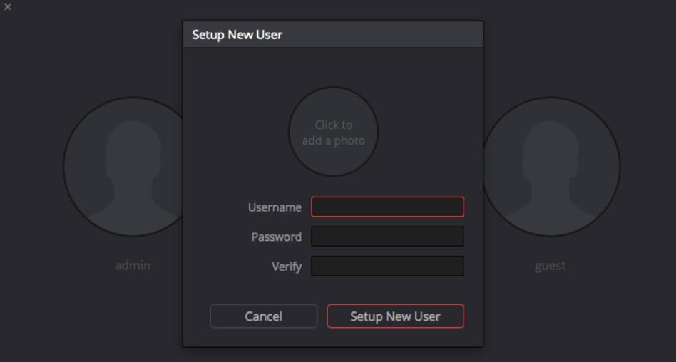 Configurer un compte utilisateur.