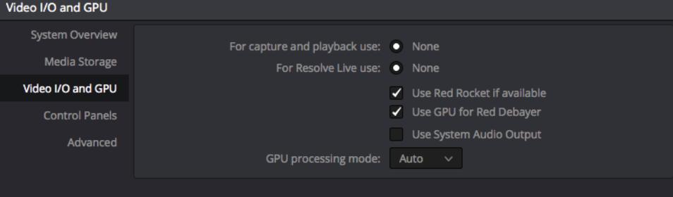 L'onglet Video I/O and GPU