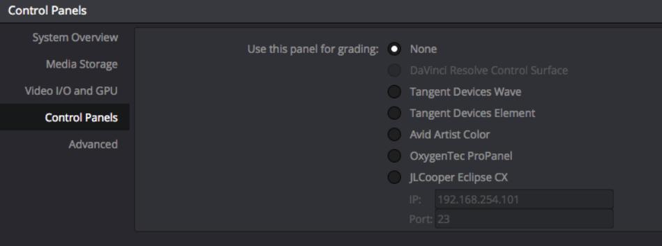 L'onglet Control Panels