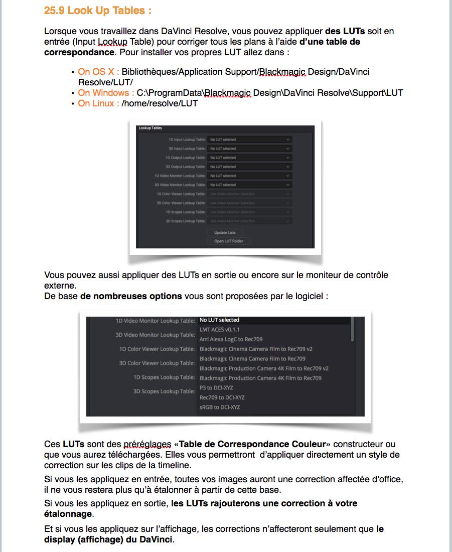 PDF de formation DaVinci Resolve 12.5 : Le montage et l'étalonnage sous un seul logiciel
