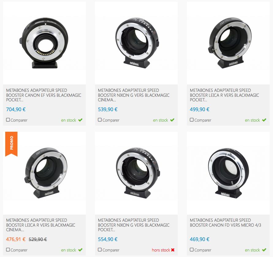 Les différentes versions de Speed Booster chez Metabones.