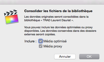 Options de consolidation de la Bibliothèque
