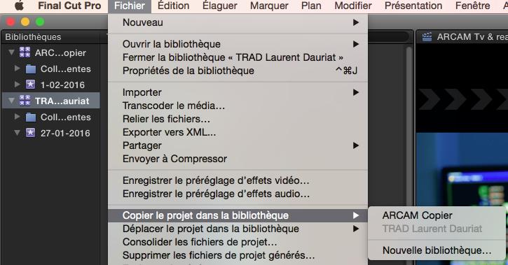 Copier ou déplacer un projet sous FCPX 10.2