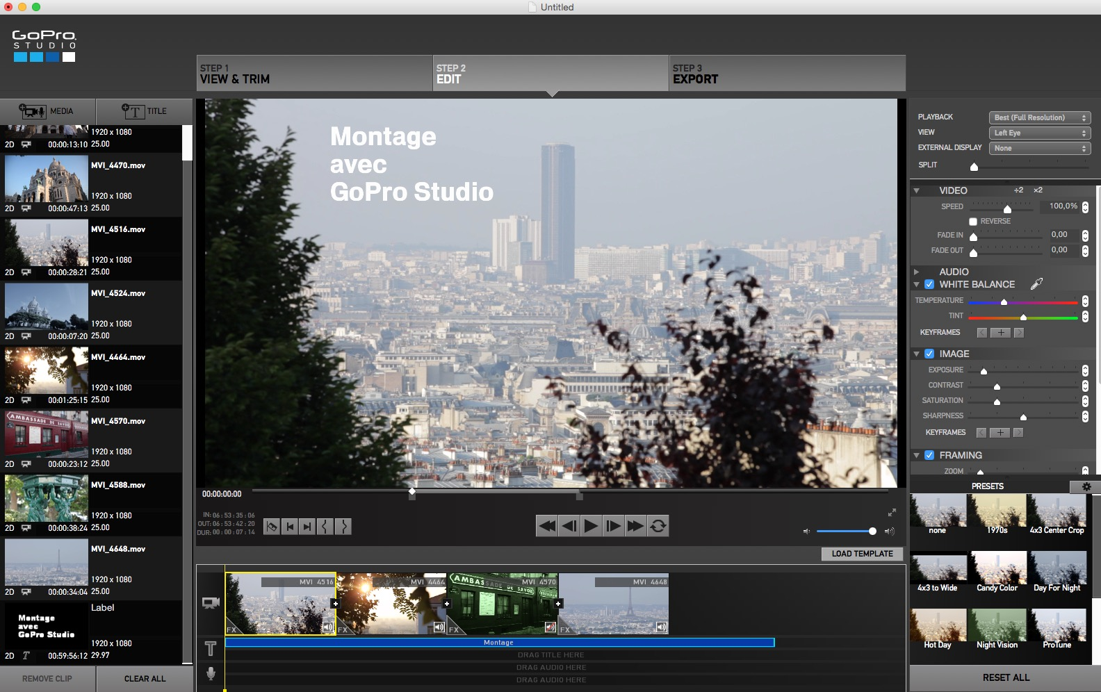 Montage Stand-Alone avec GoPro Studio