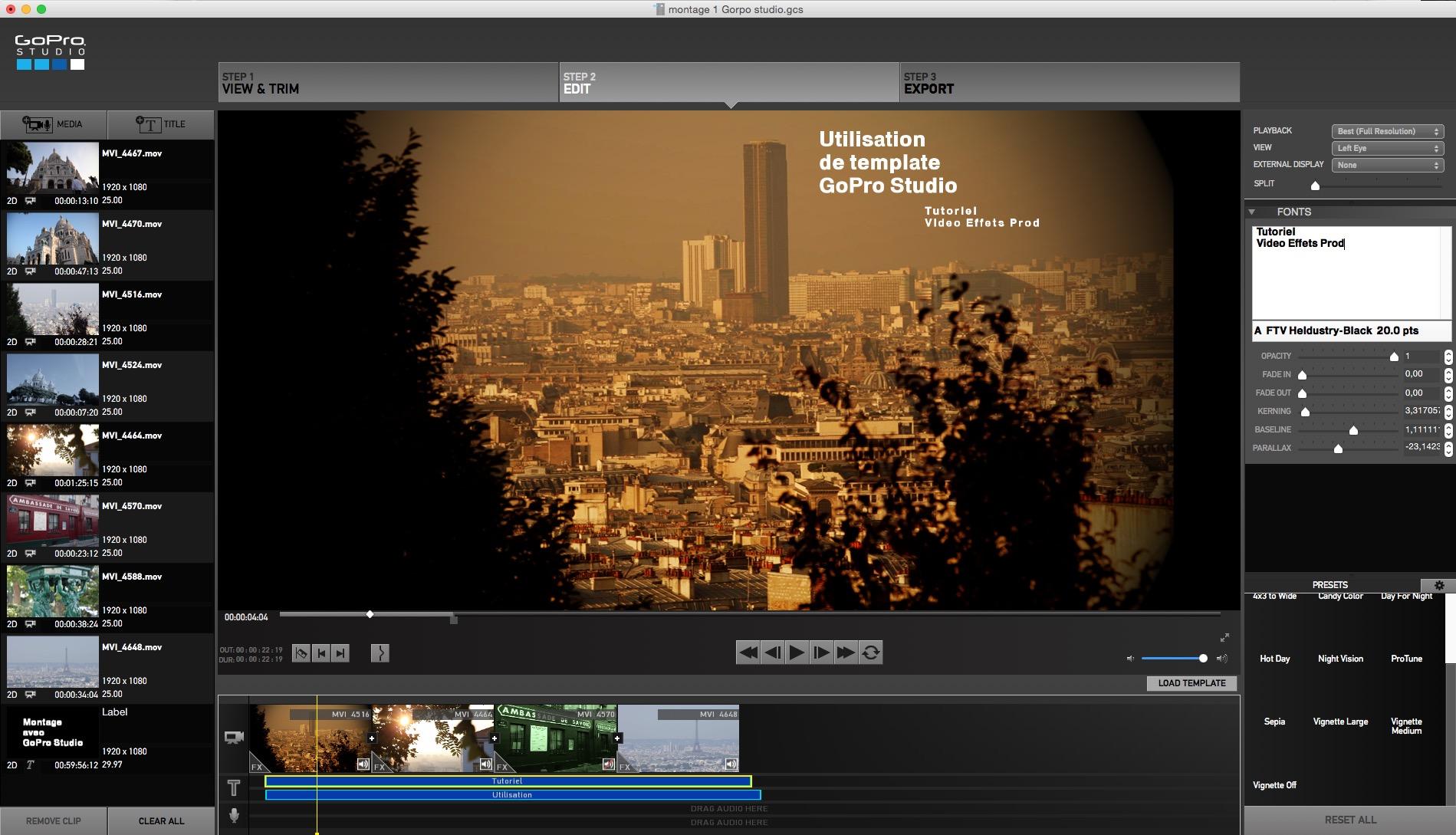 Utilisation d'un template et de titres sous GoPro Studio