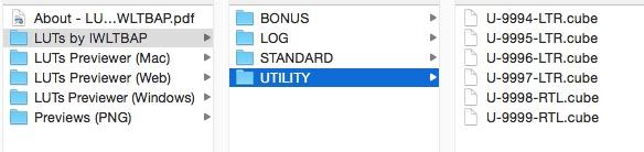 Dossier LUT utility pour rectifier vos images