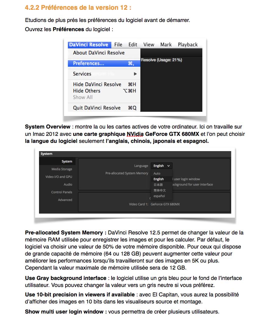 PDF de Formation DaVinci Resolve 12.5